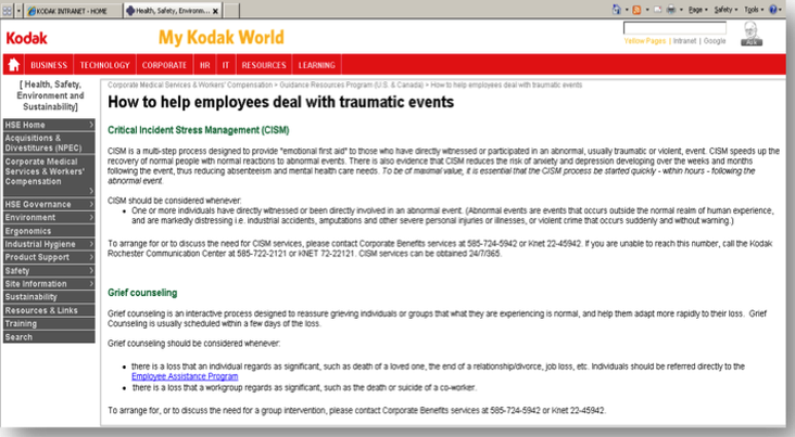 Kodak's Current Mental Health policy - Workplace Mental Health